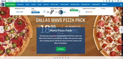 notable websites using wordpress: Dallas Mavericks