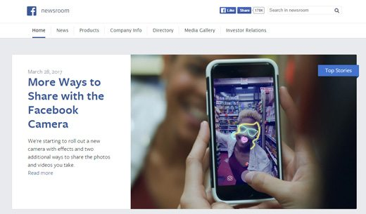 notable websites using wordpress: Facebook Newsroom