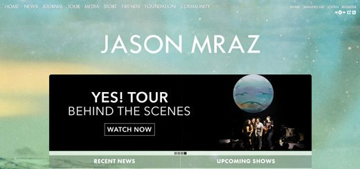 notable websites using wordpress: Jason Mraz