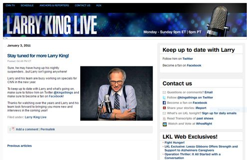 notable websites using wordpress: Larry King Liveblog