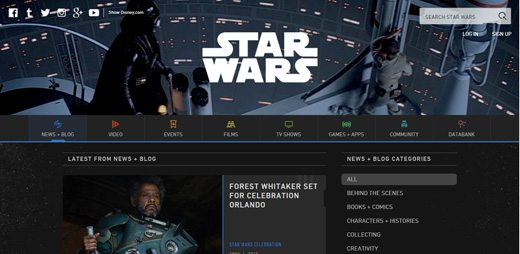 notable websites using wordpress: The Official Star Wars Blog