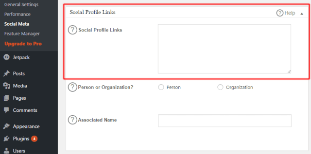 All in One SEO Pack Social Profile Links