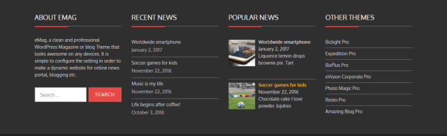 footer free news theme wordpress