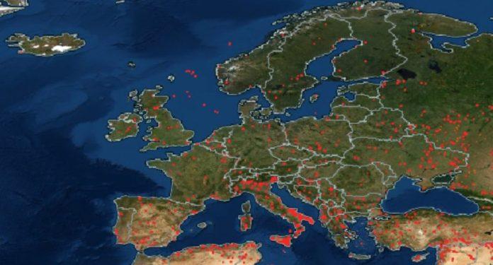 Пожары по всему миру, Пожары в Европе, Пожары по всему миру карта, карты пожаров по всему миру