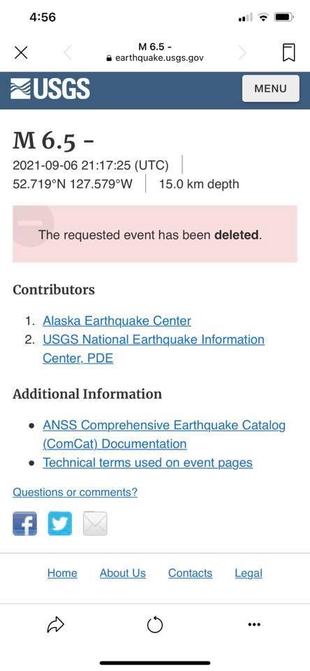 Землетрясение магнитудой 6,5 до н.э., Канада удалено Геологической службой США