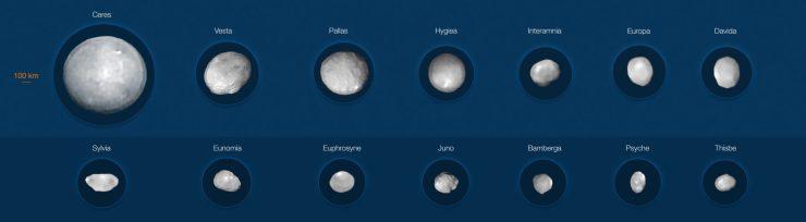 14 крупнейших астероидов Солнечной системы. Предоставлено: М. Корнмессер, Вернацца и др. (ESO); Алгоритм MISTRAL (ONERA / CNRS)