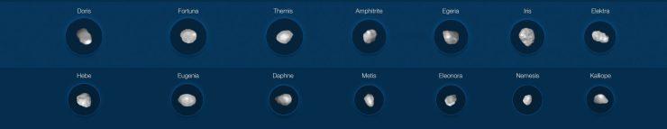 Следующая группа сфотографированных астероидов. Предоставлено: М. Корнмессер, Вернацца и др. (ESO); Алгоритм MISTRAL (ONERA / CNRS)