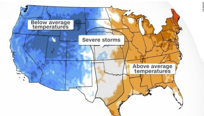 Столкновение лета и зимы в центральной части США вызывает вспышку экстремальных погодных явлений осенью.