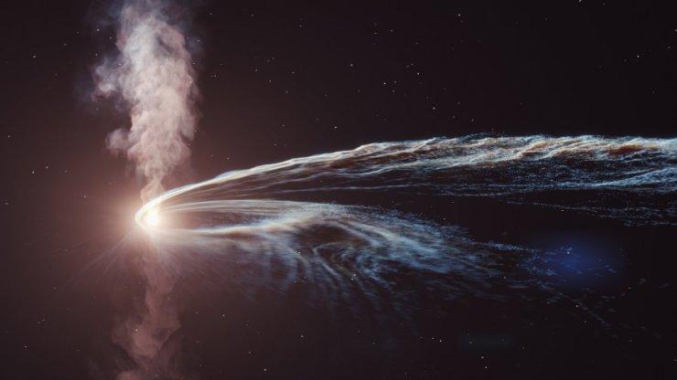 Художественная иллюстрация приливного разрушения AT2019dsg, где сверхмассивная черная дыра спагетифицируется и поглощает звезду. Часть материала не поглощается черной дырой и выбрасывается обратно в космос. Предоставлено: DESY, Лаборатория научных коммуникаций.