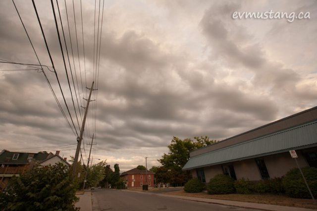 image of dramatic clouds over london street, peterborough