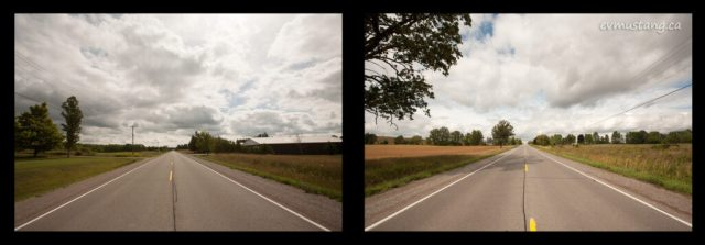 diptych image of two directions of keene road with fields on either side