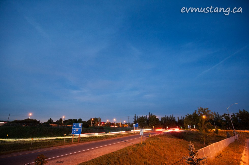 long exposure image of the turn off to milton from the 401 ontario highway