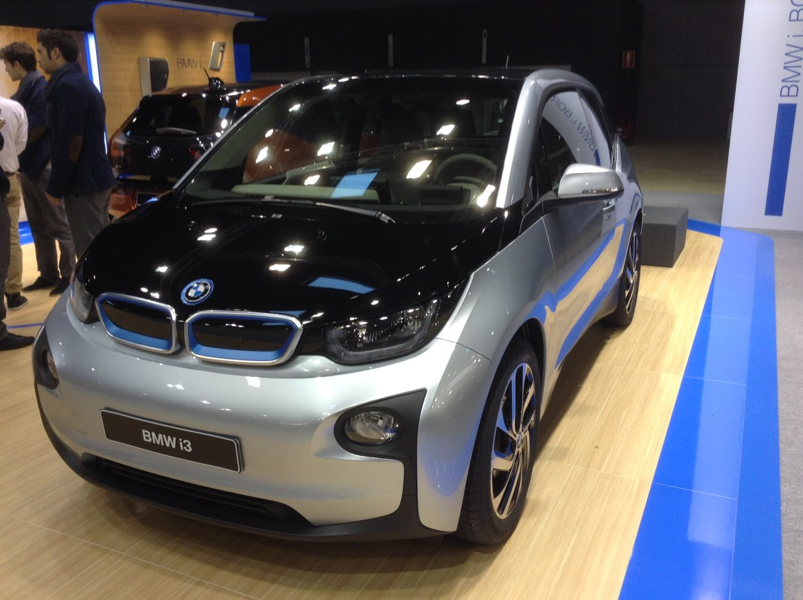 Black & silver BMW i3 at EVS27 in Barcelona, Spain.(This image is available for republishing and even modification under a CC BY-SA license, with the key requirement being that credit be given to Zachary Shahan / EV Obsession / CleanTechnica, and that those links not be removed.)