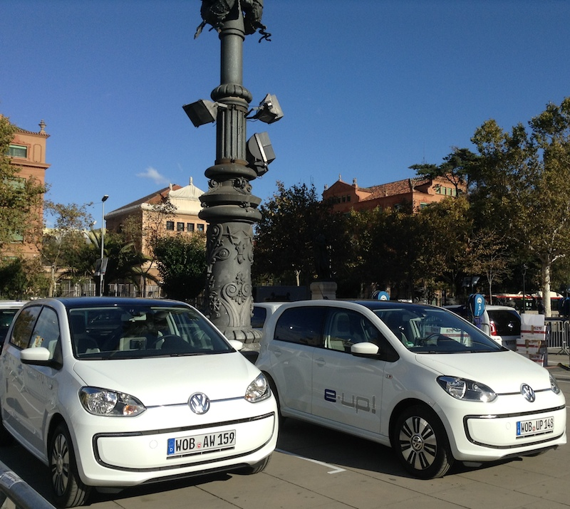 VW e-Up! at Arc de Triomf in Barcelona, Spain.(This image is available for republishing and even modification under a CC BY-SA license, with the key requirement being that credit be given to Zachary Shahan / EV Obsession / CleanTechnica, and that those links not be removed.)