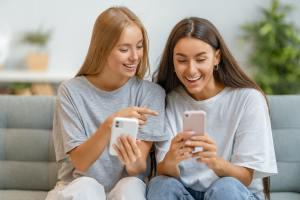 women are using phone
