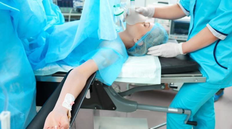 Female patient undergoing surgery