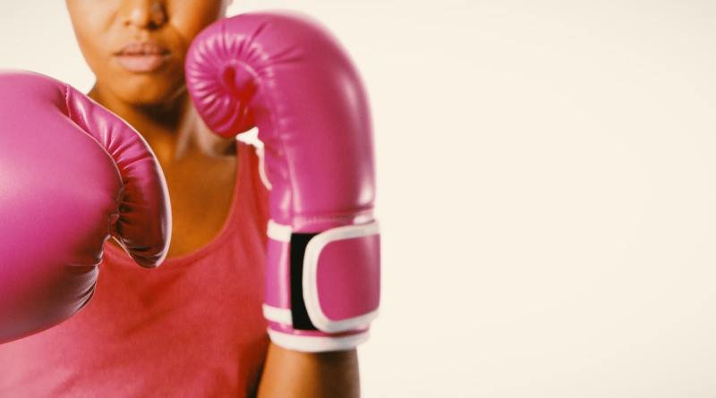 Woman fighting for breast cancer awareness
