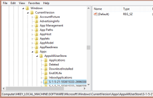Registry location of tiled app configuration