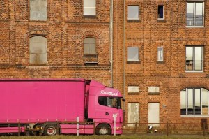 Pink moving truck - not nearly as professional as our expert movers San Antonio.