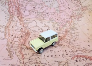 A car on a map.