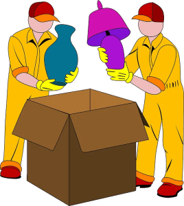 Movers packing up boxes,