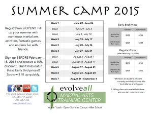 2015 Summer Camp Evolve All Flyer