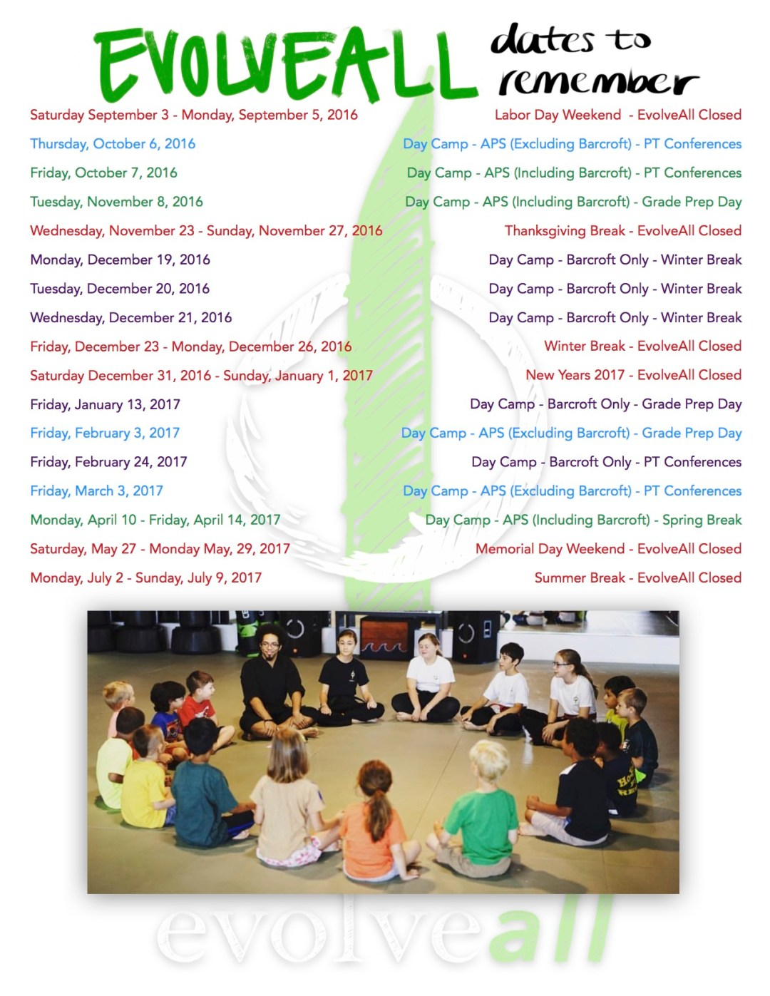 2016 17 Important Dates JPEG - Day Camp Registration now OPEN