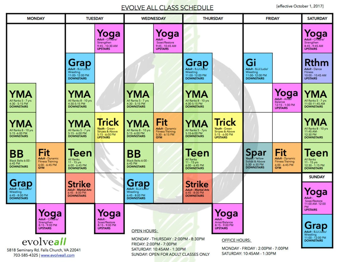 EA Schedule V 4.4 web - EvolveAll - Training Arts Center, VA