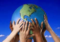 many hands holding globe
