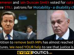 David Cameron and Iain Duncan Smith are STILL Patrons for Motablity. We need YOUR help to remove them.