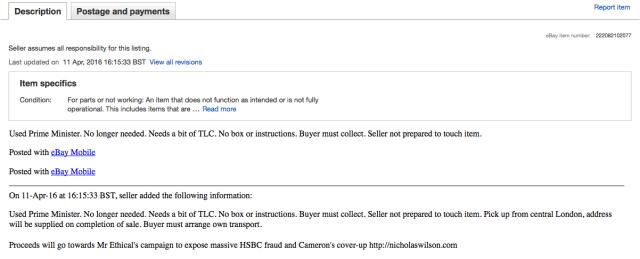 David Cameron eBay Description