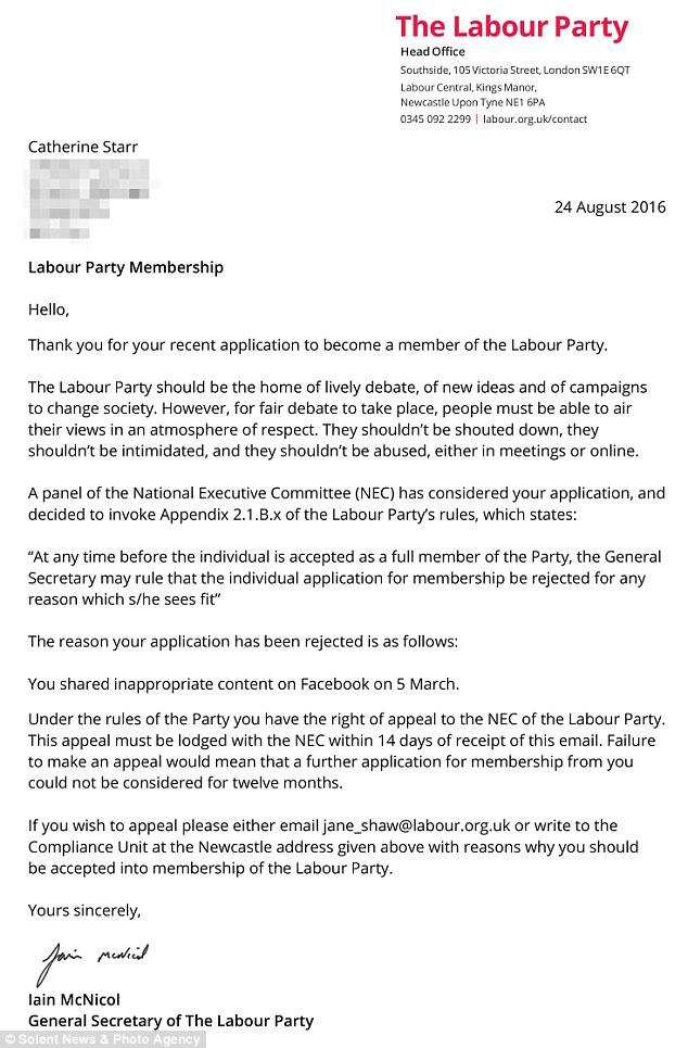 Catherine Starr Labour Letter