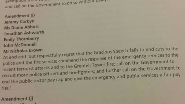 Corbyn Queen's Speech Amendment