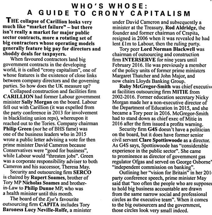 Private Eye Tory Cronyism Carillion Serco