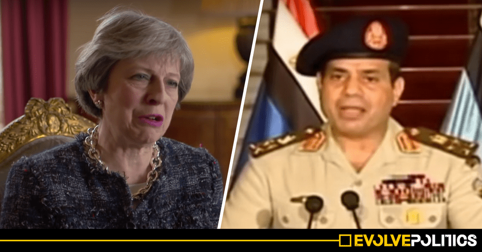 Theresa May just congratulated the BRUTAL Egyptian DICTATOR on winning sham landslide 97% election victory. Seriously.