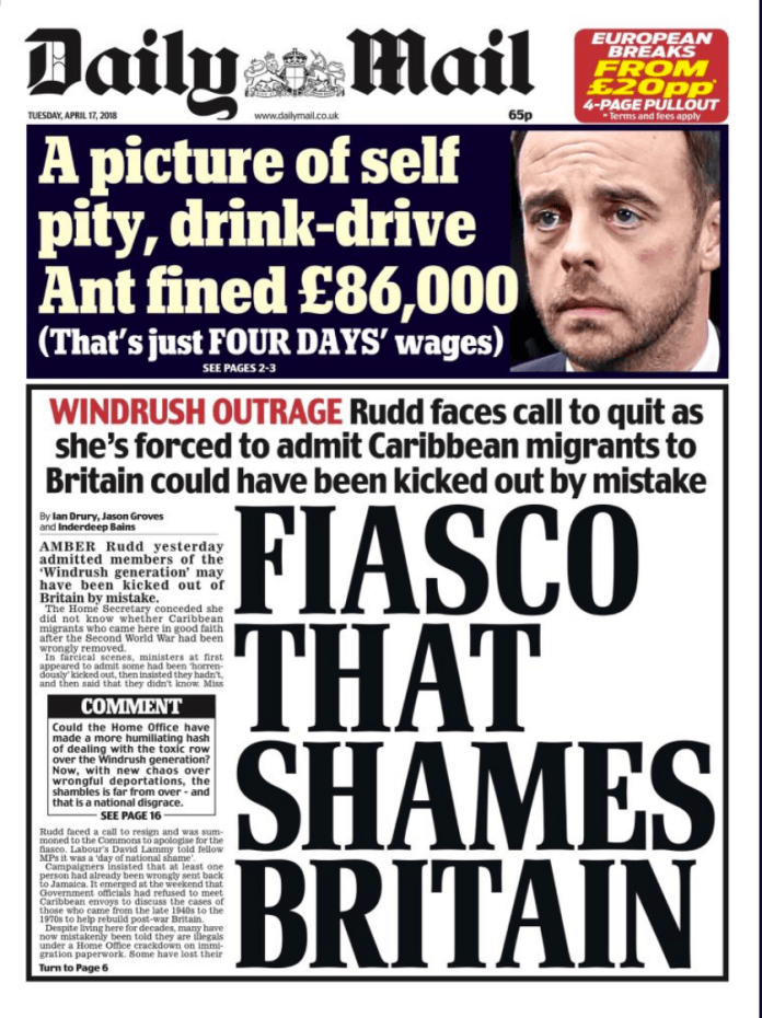 Daily Mail Front Page April 17th 2018 - Fiasco That Shames Britain - Windrush