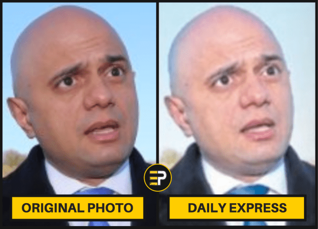 Sajid Javid - Daily Express Whitened - Side by Side Comparison with Original Photo