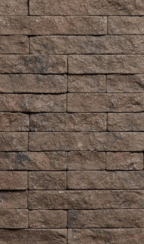 District View patterned mortarless stone veneer by Evolve in the color Kodiak Mine