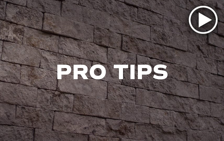 Pro Tips video thumbnail with white play button and Evolve Stone in background
