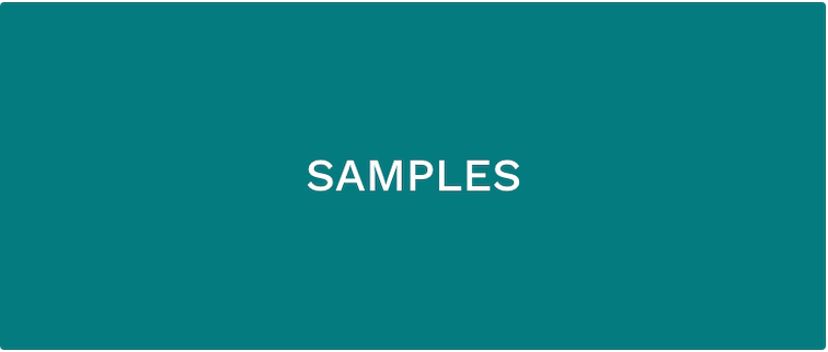 white text that says SAMPLES over teal background
