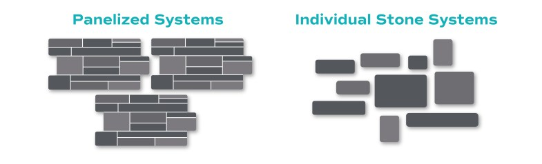 Infographic comparing the structure of panelized systems vs individual stones