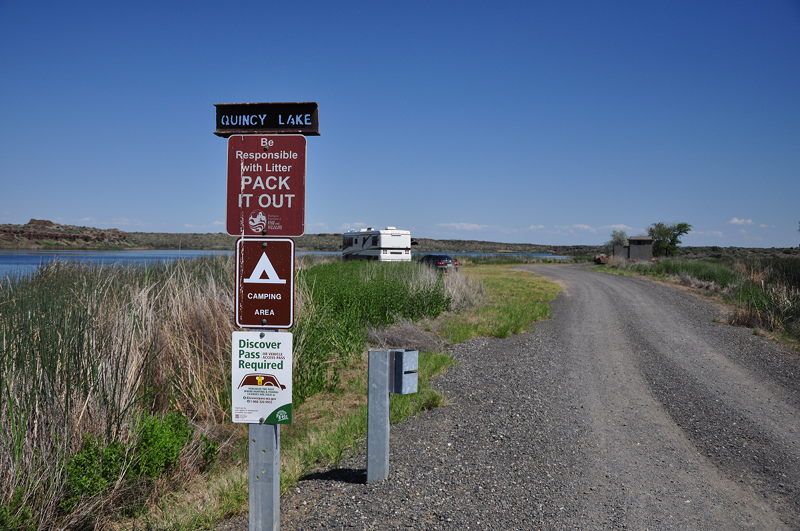 Entrance to the camping area at Quincy Lake in Eastern Washington while living in our RV full time on our adventure.