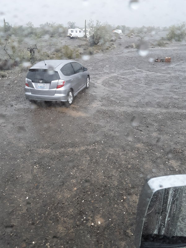 It has been raining for about 20 hours straight at the RTR 2019 and the ground it covered in water out here in the desert.