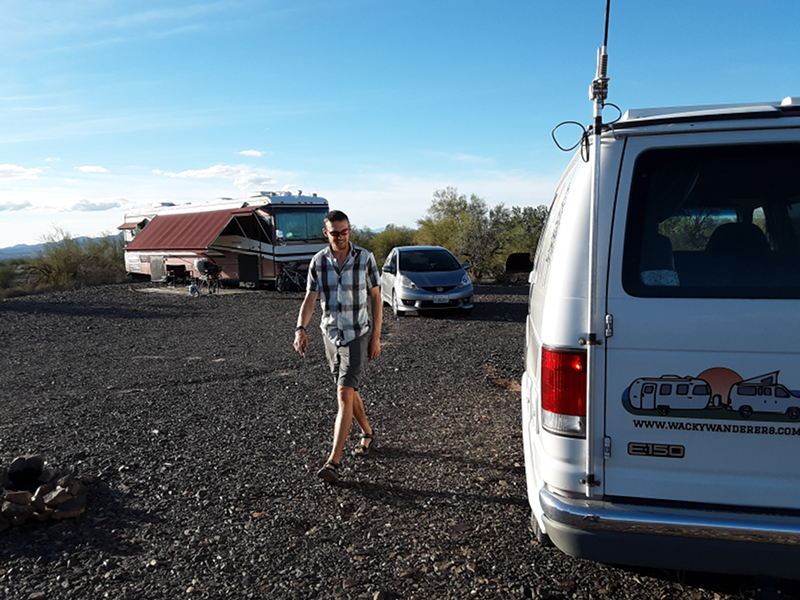 Justin from wackywanders.com comes to visit us at our RV while out in Scaddan Wash near Quartzsite, AZ.