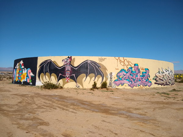 Artwork painted on the old concrete foundations in Slab City.