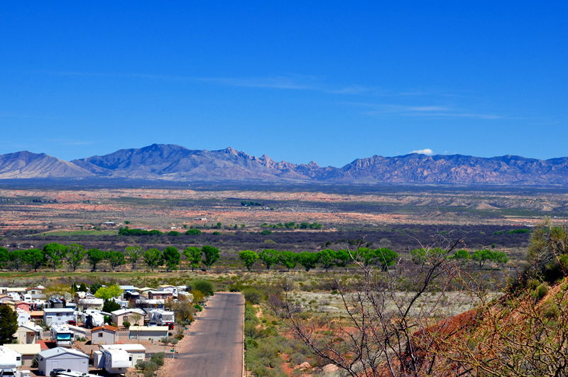 A view of the Dragoon Mountains from the SKP Co-Op park just outside Benson, AZ.