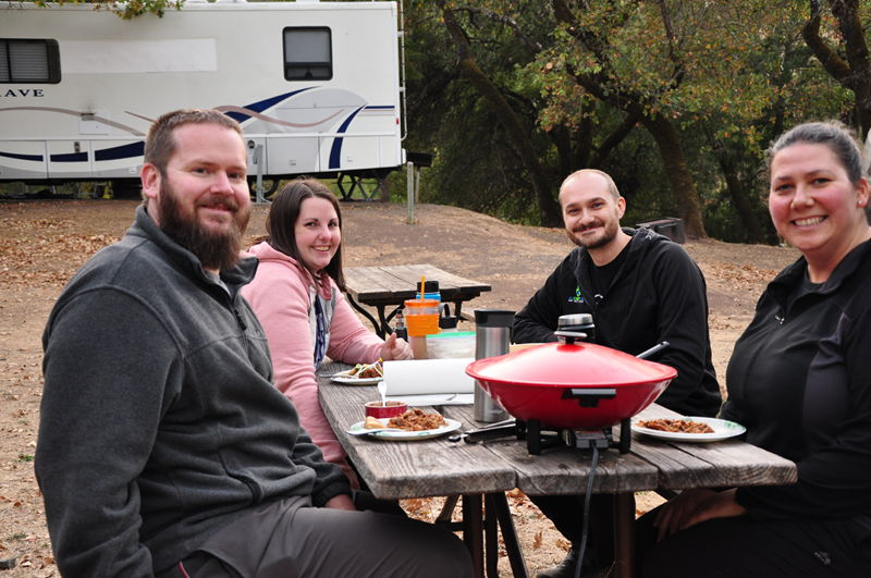 Sharing a meal with friends at Russian River RV Resort.