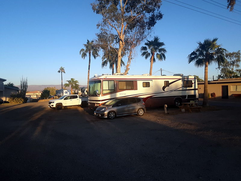 Our site at Fenders RV resort in Needles, CA.