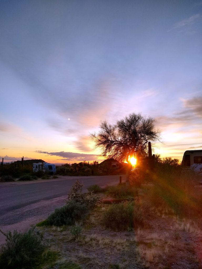 Sunset from Usery Mountain Regional Park while full time RVing.