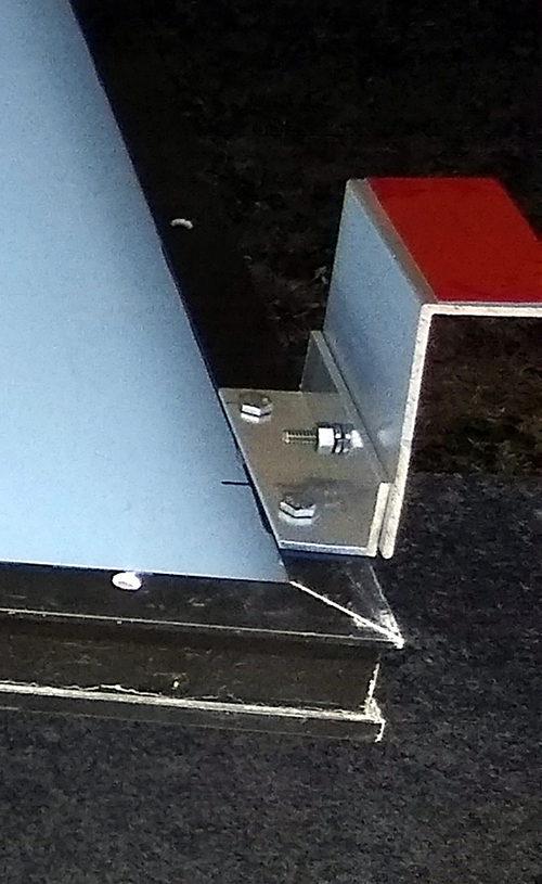 "Solar Bracket made of 4""X2"" and 1.5""X1.5"" aluminum angle."